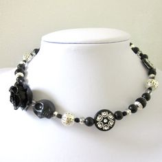 Sugar Skull Choker Day of the Dead Necklace by sweetie2sweetie, $24.99