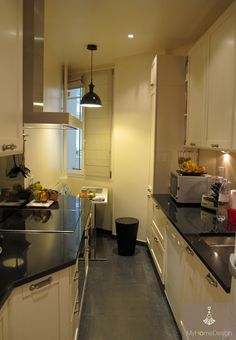 Am nagement cuisine on pinterest cuisine plan de travail and glass walls - Amenagement cuisine en longueur ...