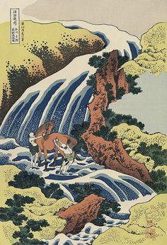 和州吉野義経馬洗滝  Waterfall at Yoshino in Yamato Province (where General Yoshitsune washed his horse) by Hokusai