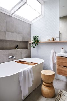 Real reno: This Melbourne overhaul is a riot of texture - The Interiors Addict - bathroom inspiration - Grey Bathrooms, Bathroom Renos, Laundry In Bathroom, Beautiful Bathrooms, Bathroom Renovations, Modern Bathroom, Small Bathroom, Bathroom Ideas, Neutral Bathroom