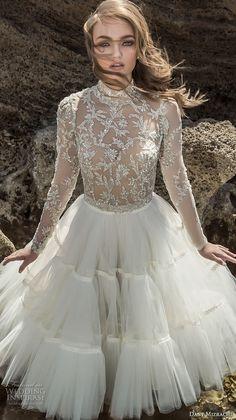 dany mizrachi 2018 bridal long sleeves high neck heavily embellished bodice tulle skirt glamorous above the knee short wedding dress (24) mv -- Dany Mizrachi 2018 Wedding Dresses