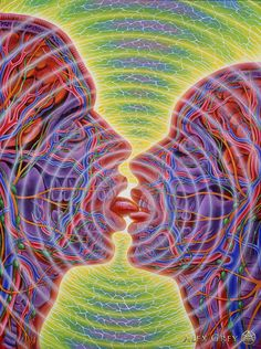 """OXYGEUSIA [noun] extreme acuteness or sensitivity of the sense of taste. Etymology: oxy, from Ancient Greek oxus, """"sharp"""" + -geusia, from geûs(is), """"taste"""". [Alex Grey - One Taste] Alex Grey, Alex Gray Art, Art Gris, Art Amour, Art Visionnaire, Psy Art, Spirited Art, Art Abstrait, Visionary Art"""