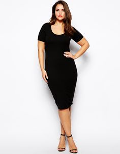 ASOS CURVE - Midi Bodycon Dress With Short Sleeves