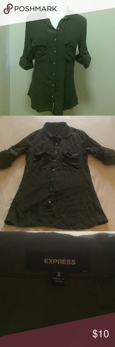 Express Button Down Top Super cute olive green top by Express. Only wore once! Size small and made of 100% silk. Sleeves are long but roll up and button to hold. Express Tops Button Down Shirts