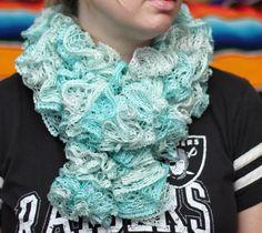 Icy Mint Crochet Scarf Green Scarf Ruffle Ruffle Scarf by kidalia