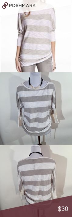 NWOT EXPRESS STRIPED SIDE RUCHED 3/4 SLEEVE TUNIC ❤️Adjustable ruched string on side ❤️New without tag condition ❤️Same day shipping  ❤️15% off for 2 items or more bundle ❤️MAKE ME AN OFFER Express Tops Tunics