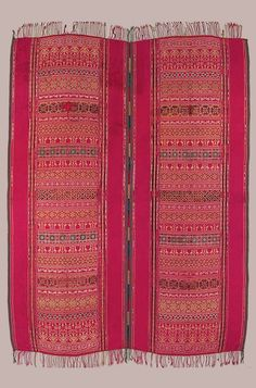 Africa | Hanging from Tunisia | 18th century | Silk, damask weave, joined || Furnishings for the home, subjected to rough use, were usually woven in wool or camel and goat hair, so this fine curtain in silk must have been made for a special occasion or an aristocratic home.