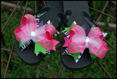 Funky Zebra Lime and Hot Pink Polka Dot Ribbon Bow Flip Flops with Tulle and Rhinestones.