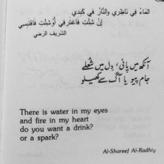 """There is water in my eyes  And fire in my heart  Do you want a drink?  Or a spark? - Al-Shareef AlRadhiy"
