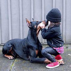 Love! | Doberman and her girl
