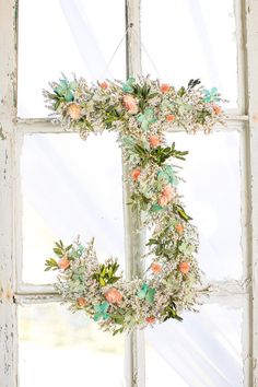Personalized dried flower initial wreath for your wedding. Your choice of letter and colors. on Etsy, $49.00