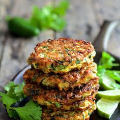 Whole Grain Zucchini Jalapeno Fritters with Cilantro Lime Sour Cream Recipe | Yummly