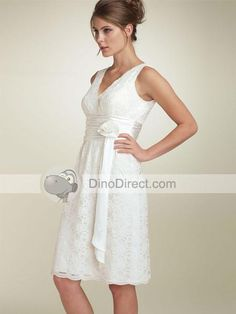 wedding dress - lace with sash and a v-neck- short