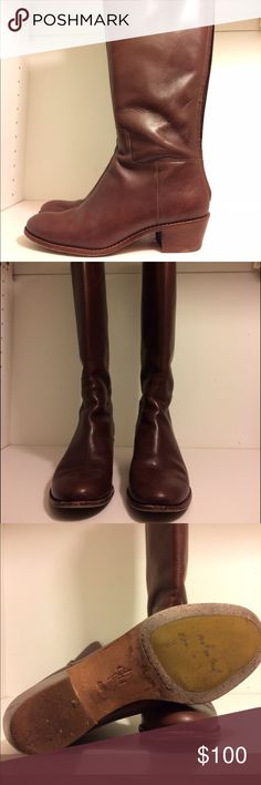 Cole Haan leather riding boots Hit mid-calf. Had them waterproofed. They are a true 8.5, although a little narrow. There is elastic at the opening. Super comfy and still have a lot of wear left. Zippers on back for easy on/off. Cole Haan Shoes Winter & Rain Boots