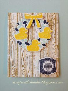 Stampin' Up! - Baby card - 126944 - Daffodil Delight Ink Pad; - 131181 - Soft Sky Ink Pad; - 126970 - Night of Navy Ink Pad; - 136791 - BUNDLE: Something for Baby Stamp Set + Baby's First Framelits Dies - 132722 - BUNDLE: Label Love Stamp Set + Artisan Label Punch - 133035 - Hardwood Background Stamp - 137624 - BUNDLE: Wondrous Wreath Stamp Set + Wonderful Wreath Framelits
