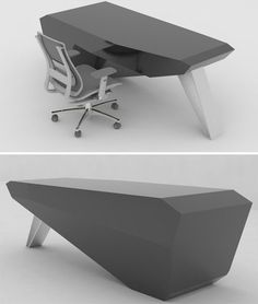 """'Monolith Desk' by Bean Design is a single statement-making volume balanced by one angled leg, allowing just a few simple lines to """"let us ponder about the mysteries in all the world."""""""