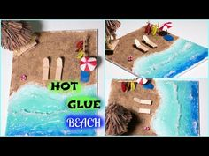 realistic beach with hot glue . Beach Crafts For Kids, Diy For Kids, Kids Crafts, Diorama Kids, Craft From Waste Material, Glue Gun Crafts, Educational Crafts, Kindergarten Crafts, Easy Diy Gifts
