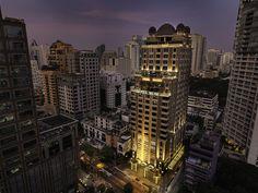 Hotel Muse Langsuan - Exterior at Night  http://www.boutiquebangkok.com/bkk/bangkok-boutique-hotels/hotel-muse-bangkok