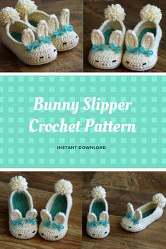 Toddler Bunny Slippers The Classic Bunny Slipper Crochet Pattern - Childrens shoe Sizes 4 - 9 - Number 214 Instant Download #ad #etsy #crochetpattern #bunny #slippers
