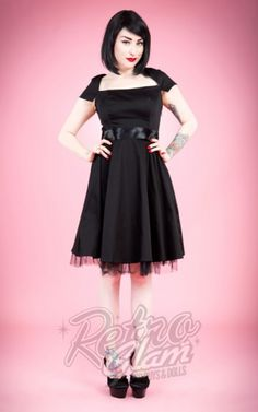 Retro Glam - Hearts and Roses Sweet Virginia Cocktail Dress in Black