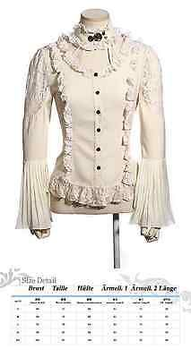 RQ-BL Steampunk Bluse Gothic Shirt Victorian Choker Spitze Rüschen Vintage SP175