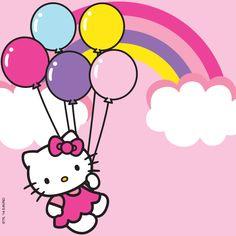 Hello Kitty with balloons Hello Kitty Theme Party, Hello Kitty Cupcakes, Hello Kitty Themes, Cat Cupcakes, Ladybug Cupcakes, Snowman Cupcakes, Cupcake Cakes, Piñata Hello Kitty, Hello Kitty Pictures