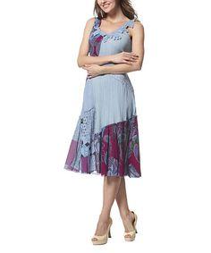 Look at this #zulilyfind! Blue Appliqué Patchwork A-Line Dress #zulilyfinds