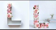 Linda maneira de fazer letras em 3D e super fácil também - flores artificiais coladas com cola quente                                                                                                                                                      Mais