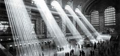 Grand Central Terminal, NYC, 1929. The sun no longer shines through like that due to the surrounding tall buildings.