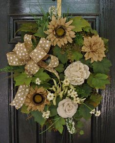 XLG Spring Summer Wreath with Burlap Sunflowers, Roses Wildflowers & Burlap Bow #Handmade