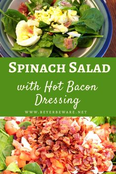 Oct 2019 - Spinach salad with hot bacon dressing is an easy spinach salad with bacon, tomatoes, eggs drenched in a warm dressing that has a mixture of tangy sweetness and salty from the bacon. Warm Spinach Salads, Bacon Spinach Salad, Spinach Salad Recipes, Bacon Recipes, Healthy Recipes, Warm Salad Recipes, Bulgur Salad, Dinner Recipes, Recipes