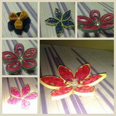 Origami flowers moulded with comb