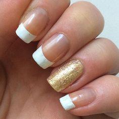 Girly glitter accent french mani  #nailart - bellashoot.com