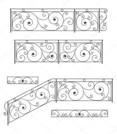 Conjunto de vectores: barandilla de la escalera de hierro forjado, cerca y rejillas aisladas sobre fondo blanco