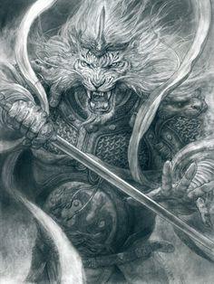 Art by Tianhua Xu* Angel Warrior, Fantasy Warrior, Warrior King, Fantasy Creatures, Mythical Creatures, Character Art, Character Design, Character Inspiration, Lion Wallpaper