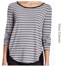 WOVEN BACK STRIPE HI-LO TOP ~ NWT WOVEN BACK STRIPE HI-LO SHIRT ~ BOHO CHIC ~ Soft Heather Grey ~ 3/4 Sleeve is perfect for Spring and cool Summer nights ~ Back is a silky rayon that flows and hangs nicely with the slight gathering at the seam Trades ✅Use offer option ❤️Bundles Vince Camuto Tops
