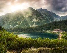 mountain landscape with mountain chalet near Poprad Pond, High Tatras, Slovakia Wonderful Places, Beautiful Places, Amazing Places, High Tatras, Albania, Macedonia, Nature Photos, Slovenia, Beautiful World