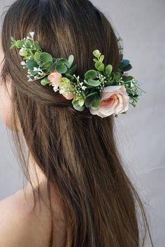 Flower crown wedding, bridal flower hair comb, blush flower half crown, extended flower hair comb, flower headband