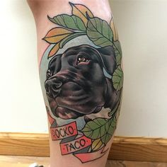 """rizzabootattoos: """" 2nd dog portrait from yesterday. Thanks so much Jenna, had fun with this one. Tattooed this on my guest spot at @sostattoos #doggystyle #neotraddogportrait #rizza_boo #bathstreettattoocollective #tattoosuppliesuk #glasgowtattoos..."""