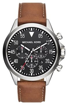 Michael Kors 'Gage' Chronograph Leather Strap Watch, 45mm available at #Nordstrom