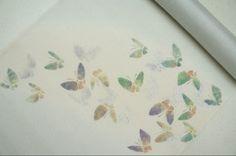 正絹紗紬タタキ染帯染帯薄いグレー地送料無料蝶々柄単衣~盛夏