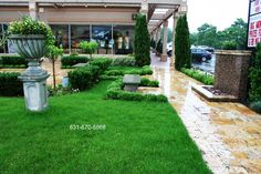 Commercial landscape Developed with travertine paving stones Long Island NY   http://deckandpationaturalstones.com/travertine-pavers-pool-patio.html
