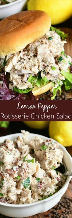 Delicious and tender chicken salad made w… Lemon Pepper Rotisserie Chicken Salad. Delicious and tender chicken salad made with a pop of pecans, lemon pepper seasoning, green onions and lemon! Rotisserie Chicken Salad, Chicken Salad Recipes, Lemon Pepper Chicken Salad Recipe, Lemon Chicken, Roasted Chicken, Ground Beef Recipes, Turkey Recipes, Dinner Recipes, Lemon Pepper Seasoning