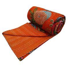 Indian Kantha Quilt Throw Blanket Twin Size Bedding Bedspread Handmade Quilt Art #Handmade #Traditional