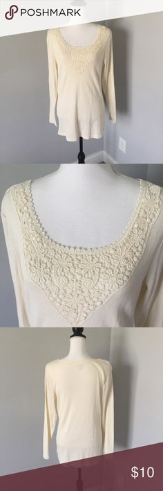 Cream Crochet Long Sleeve Top This top is in excellent condition! It is perfect for the fall and winter. Offers welcomed! 85 Falls Creek Tops Tees - Long Sleeve