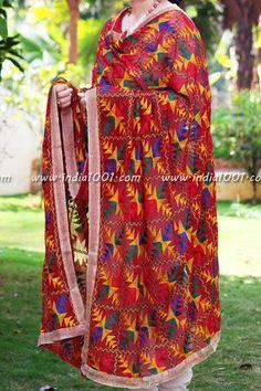 Designer Embroidered Phulkari Work Dupatta