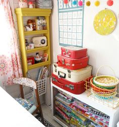 I love a little sewing room like this Sewing Spaces, Sewing Rooms, Discount Upholstery Fabric, Craft Shed, Fabric Sectional, Workspace Inspiration, Eclectic Decor, Mellow Yellow, Kids Decor