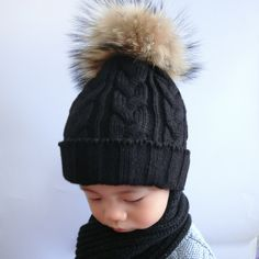 Children Fur Pompom Hat Baby Boys Girls Winter Beanie Hats Wool Knitted Caps For Kids 2016 Hot Sale