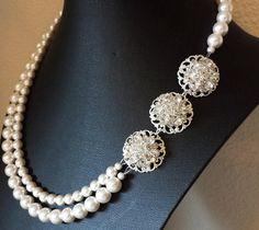 Wedding Rhinestone Necklace Bridal Pearl by OliniBridalJewelry, $75.00