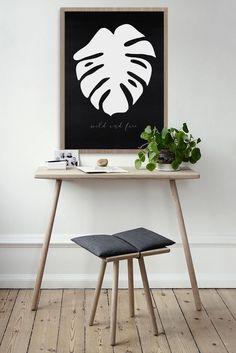 "Monstera Plant Wall Art Print, black and white monstera printbale. ""wild and free"" print"